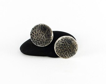 """Handcrafted Sterling Silver Round Disc Post Earrings Embossed """"Sea Fan"""" Design Contemporary Artisan Jewelry Classic Design 2583643211717"""