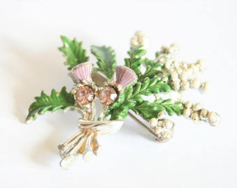 Vintage Scottish brooch.  Scottish heather brooch. Enamel brooch. Vintage jewellery