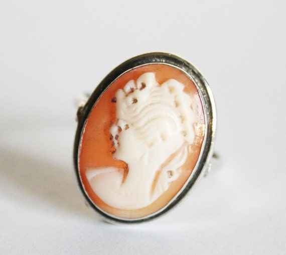 vintage cameo ring sterling silver ring uk size p 1 2 us