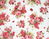 Jersey knit Rayon fabric flowers White floral flower Spring feminine stretchy stretch material blossom bloom Summer 1 yard by the yard