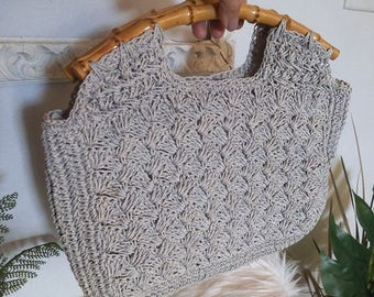 Vintage Gray Crocheted Purse with bamboo handles ~ Light Grey hand Bag ~ Vintage Japan