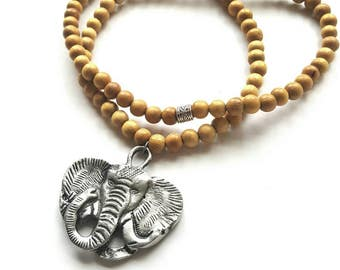 Men's elephant pendant necklace//wood bead necklace//wood and silver necklace//gift for him// Tribal//African