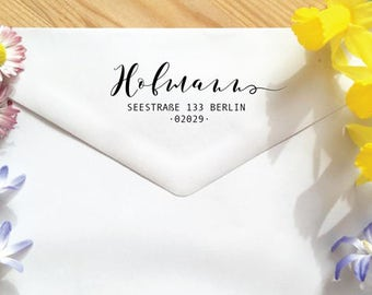 Custom address Stamp. Personalisierter Adressstempel. Sello con dirección postal personalizable.