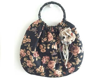 Floral Ring Bag With corsage, Handmade Bag, Quilting Bag, Gift for Mom, Ring Bag, Women's Bag