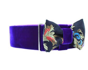 Purple Velvet Martingale Collar with Matching Bow Tie, 2 Inch Martingale Collar, Velvet Dog Collar and Matching Bow Tie, Greyhound Collar