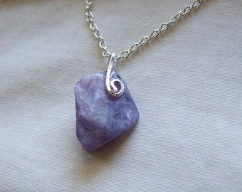 Natural Lilac Charoite Gemstone Pendant