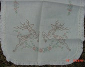 Vintage Christmas Reindeer Stamped Table Runner  17 - 198
