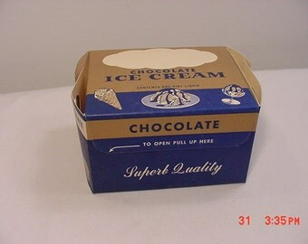 Vintage 1951 Superb Quality Chocolate Ice Cream One Pint Box  16 - 569