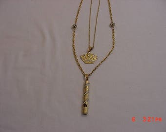 Vintage Two Strand Crown Pendant & Working Whistle Rhinestone Accented Necklace  17 - 650