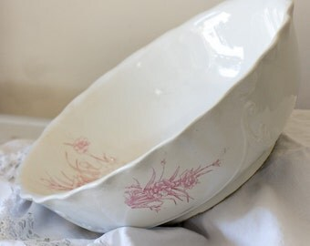 XL Vintage Ironstone Bowl with Pink Flowers, Large White Ironstone Bowl