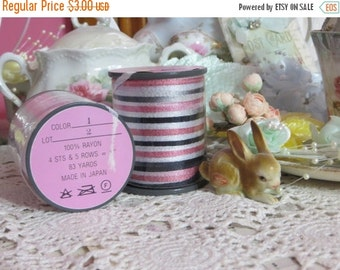ON SALE Paris Chic Vintage Millinery Ribbon-Black and Pink-5 yards-Made in Japan