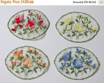 ON SALE Vintage Organza Rose Appliques - Set of 4- Embroidered Roses - Satin Stitched - Embellish Quilt - Clothing - Scrapbooking