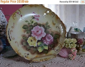 Going Out Of Business Vintage Hand Painted Plate-Marked-Dessert-Roses-8 inch