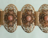 Vintage COPPER Filigree  and GLITTER Confetti LUCITE wide Panel Bracelet