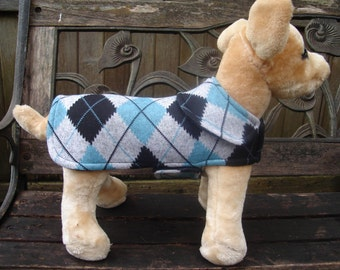 Dog Jacket - Blue and Black Argyle Sweater Knit Dog Coat- Size XX Small- 8-10 Inch Back Length