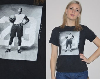 Vintage 90s Michael Jordan Number 23 Air Jordan NBA Basketball T-Shirt - 90s Vintage NBA Tee - 90s baby tee - Hip Hop Rap R&B - W00482