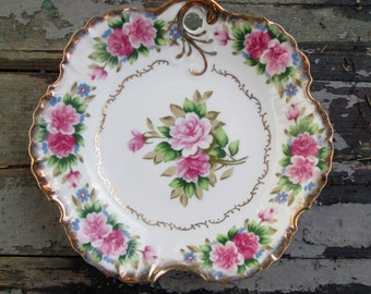 Hand Painted Dresden Dish Romantic Cottage