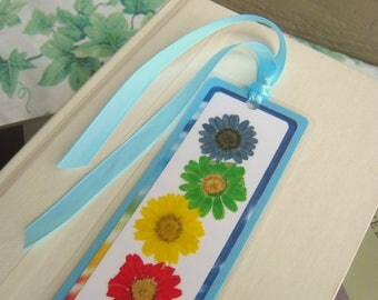 Pressed Flower Daisy Multi-Color Tie-Dyed Rainbow Dasies Floral Laminated Bookmark