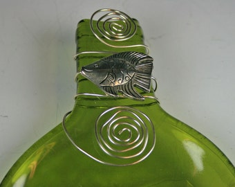 Flattened, Slumped, melted wine bottle with fish decoration, Gift for the Fisherman, Recycled  Wine Bottle Cheese and Cracker Tray