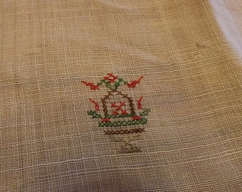 Linen Square Luncheon Tablecloth With Tiny Embroidered Asian Motifs
