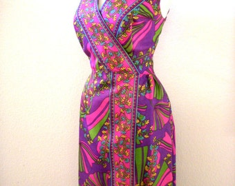 Vintage 60s Psychedelic Maxi Dress - Purple and Pink 1960s Party Dress - Purple Flower Power Hostess Dress - Size Medium to Large estimated