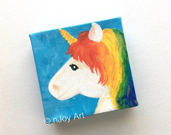 Rainbow Unicorn Art -  4x4 Daily Doodle Mini acrylic Painting