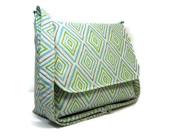 Handmade Diamond Pocketbook, Women's Messenger Bag, Home Dec Crossbody Bag, Cotton Shoulder Bag, Fabric Purse, Cross Body Bag, Ready to Ship