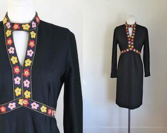 vintage 1960s dress - OLIVES & DAISIES folk wool dress / M