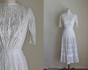antique 1910s edwardian lawn dress - SUGAR CANE antique white dress / XXS