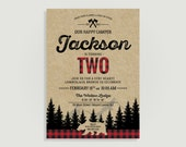 Lumberjack Invitation - Lumberjack First Birthday Invitation - Personalized Printable File or Print Package 00220-PIA7PO