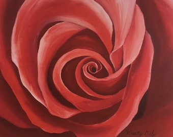 """Red Rose Oil Painting - Gallery Wrapped Giclee Reproduction on Canvas - 33"""" x 21.5"""""""