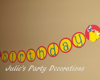 Snow White Happy Birthday Banner