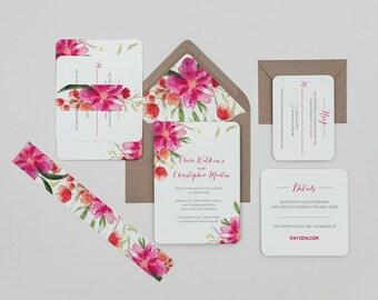 Bright Pink Modern Floral Wedding Invitations,Modern Floral Wedding Invitations,Pink Wedding Invites, Pink Boho Floral Wedding Invitations