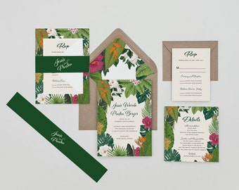 Modern Tropical Flower Save the Dates,Destination Wedding Invitation Set,Tropical Floral Wedding Invite, Boho Tropical Save the Date, Hawaii