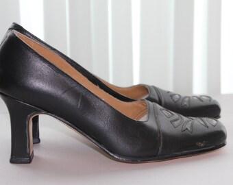 1980s Brand new Shoes, 80s Shoes, Black Italian retro Leather Shoes, Black Square Toe Pumps, Square Toe Heels