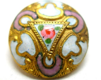 "1800s Antique Enamel Button, Victorian petite flower 1/2"" Cloisonne Photo Prop"