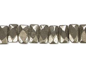 36psc 10x6mm Pyrite  Beads Faceted Rectangle 8 Inches Natural Gemstone