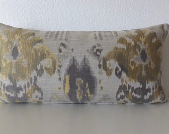 Brassy Gold Ikat Pillow Cover