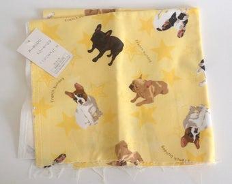 Rare Kokka Japanese French Bulldog Fabric Scrap