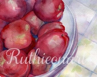 Bowl of Apples Watercolor Print