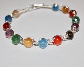 Egyptian Style 7 CHAKRA BRACELET / Wire Bracelet -Feng Shui Jewelry - Reiki - Chakra