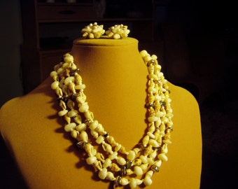 Vintage Seashell & Stone Bead 4 Strand Necklace with Matching Clip Earrings Resort Beach 9058