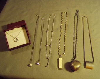 Vintage Lot Sterling Silver 7 Pendant Necklaces Puffy Heart Bead Chain Egyptian Cartouche Pearl Open Heart 9110