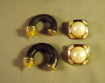 Vintage 2 Pairs Givenchy Earrings Pierced Lg Hoops Clip Faux Pearl 9261