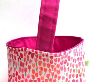 Fuschia pink fabric Easter basket storage caddy spring decoration childrens Easter basket reversible personalized