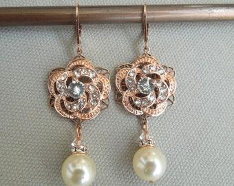 Bridal Earrings, Pearl earrings, Rose Gold Bridal Earrings, pearl Rhinestone Earrings, chandelier Earrings, Statement Earrings, ROSELANI