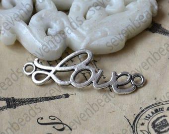 24 pcs Antique Silver Love Connectors Charms Pendant,pendant Flower Connector ,Charm findings bead