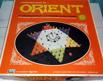 Vintage Lakeside Game of ORIENT 3 Dimensional Chinese Checkers Complete with Rotating Board  1972