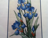 Blue Irises Kappie Originals Counted Cross Stitch Chart Pack, Cross Stitch Blue Iris, Spring Summer Flowers, Flower Arrangement Cross Stitch