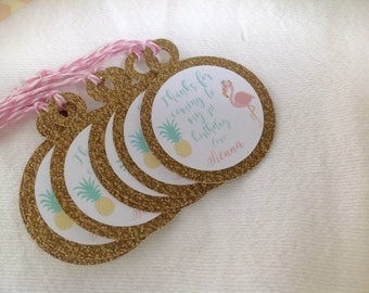 Flamingo and Pineapple Birthday Favor tags. Thank you tags. Set of 30. Flamingo Birthday or Baby Shower Tags with bakers twine.